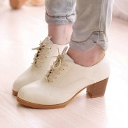 Roman Style Lady Shoelace Thick Heel Shoes