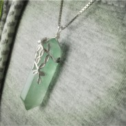 Unique Crystal Green Fluorite Column Silver Clavicle Leaves Original Handmade Jewelry Necklace