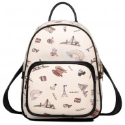 Cartoon British Style Women Rucksack Mini World Travel College Backpack