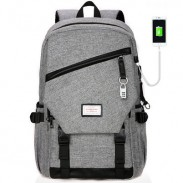 Leisure Zipper School Bag Travel USB Interface Gray Large Waterproof Canvas Student Backpack