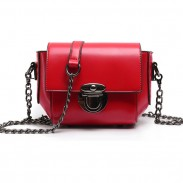 Leisure Waxy Feel PU Metallic Lock Chain Flap Red Mini Shoulder Bag