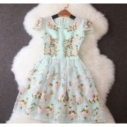 Unique Embroidery Stitching Floral Printed Short-sleeved Dress