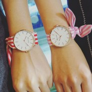 Fresh Floral Cloth Strap Stripe Straps Simple Dial Bracelet Girl's Student Quartz Watch
