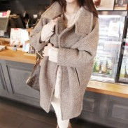 Woman Grey Lapel Thick Woolen Long Coat