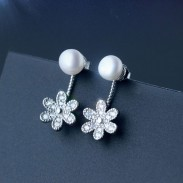 Lovely Pearl Drop Flower Silver Earrings Studs