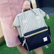 Unique Square Waterproof Stripes Laptop Bag School Bag Multi-function Travel Canvas Backpack