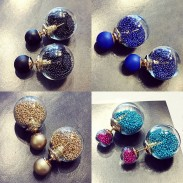 Unique Spherical Sand Gems Wish Ball Crystal Jewelry Earring Studs