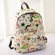 Cartoon Casual Mustache British Flag Graffiti College Backpack