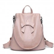 Elegant Pink Bow-knot Soft Leather Student Multi-function Shoulder Bag Backpack