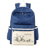 Sweet Wave Point Printing Lace Canvas Dot School Backpack Windmills Fresh Lady Rucksacks