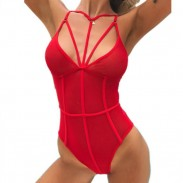 Sexy Red Perspective Mesh Conjoined Bikinis Intimate Lingerie