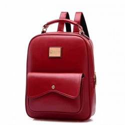 Fashion Leather Zipper Student Bag Schoolbag Backpack