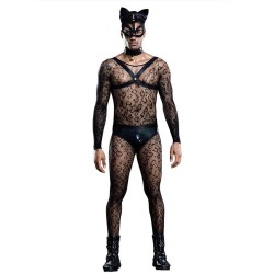 Sexy Cat Man Costume Bodystocking Harness Panties Choker Mask Tail 6 Pcs Lingerie Clubwear Cosplay Lingerie