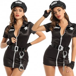 Sexy Policewoman Cosplay Costume Halloween Cop Officer Uniform Fancy Women's Dress Outfits Lingerie