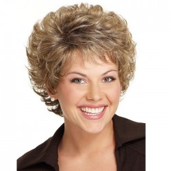 New Brown Short Diagonal Bangs Curly Hair Mature Women's Hair Wigs