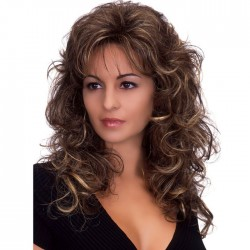Fashion Wig For Women Brown Long Fluffy Curls Wavy Hair Wig