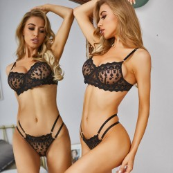 Sexy Crocheted Underwear Bra Set Black White Lace Intimate Teenage Lingerie