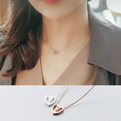 Fashion Couple Jewelry Gift For Her Silver Necklace Romantic Hollow Love Heart Pendant Necklace