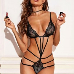 Sexy Black Seduction Bundled Seduction Lace Underwear Hot Teen Conjoined Lingerie