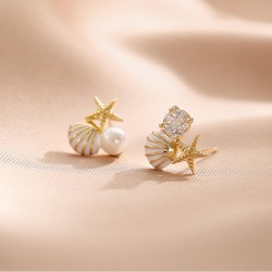 Sweet Starfish Shell Pearl Crystal Gift Ocean Sea Summer Jewelry For Her Women's Earring Studs