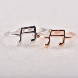 Adjustable Music Note Ring for Music Lovers Gift Musical Clef Open Silver Ring