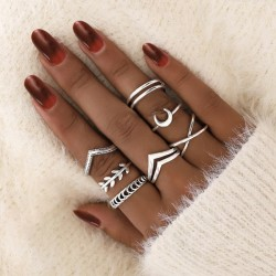 Unique Personalized Moon Cross Little Finger Ring Trendy Retro Leaf 7-piece Set Combination Ring