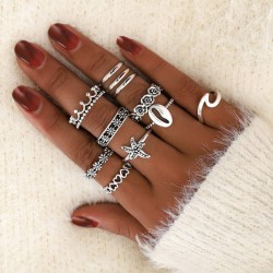 Cute Starfish Wave Shell Ring Retro Hollow Love Crown Pattern 11-piece Women Ring