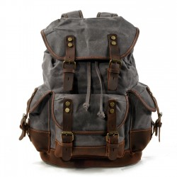 Retro Multi Pockets Canvas Rivet Stitching Leather Mountaineering Bag Camping Outdoor Backpack Plus Size Travel Backpack