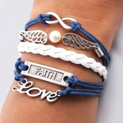 Wings Love Faith Pearl Infinity Bracelets