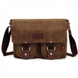 Retro Front Pocket Canvas Shoulder Bag Messenger Bag