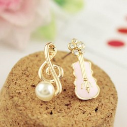 Sweet Music Note Pearl Guitar Lovely Diamond Asymmetrical Earrings