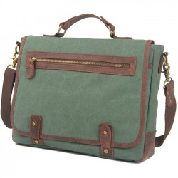 Vintage Splicing Leather Flap Square Handbag Briefcase Laptop Thick Canvas School Shoulder Bag