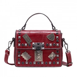 Retro Badge Rivet Crossbody Small Square Bag Women Shoulder Bag