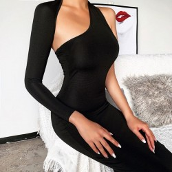 Unique Design Single Long Sleeve Irregular Black Party Long Dress