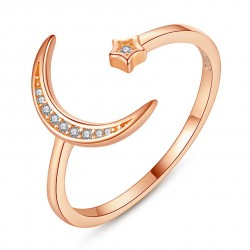 Fashion Moon Star Open Crystal Silver Ring Valentines Day Gift for Her Adjustable Women's Ring