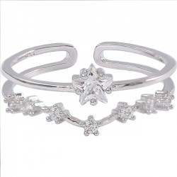 Cute Star Open Silver Double Flower Zircon Women Ring