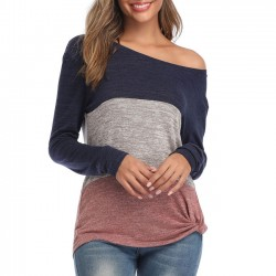 Leisure Round Neck Loose Stripe Long Sleeve Contrast Color T-Shirt Twisted Tops