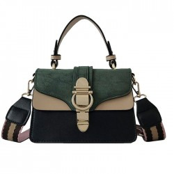 Fashion Contrast Color Small Square Messenger Bag Lock Single Buckle Matte Shoulder Bag