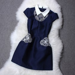 Turn-down Collar Hollow Out Embroidery Slim Dress