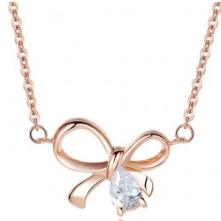 Sterling Silver Jewelry Bow Zircon Pendant Necklace