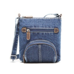 Western Leisure Style Denim Stars Pattern Front Circular Pocket Shoulder Bag
