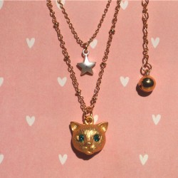 Lovely Cat Animal Star Rhinestone Necklace/Ring