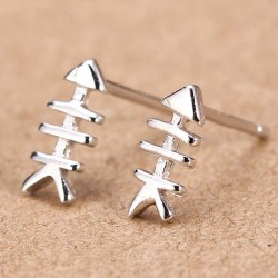 Funny Silver Fishbone Women Earrings Studs