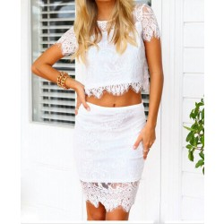 Sweet Flower Print See-through Bodycon Two-piece Lace Dress