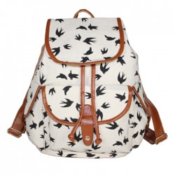 Gentlewoman Style Swallow Printed Canvas Leisure Backpacks Rucksack