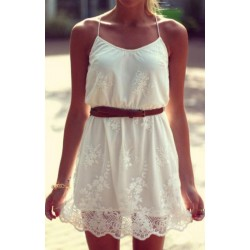 Elegant Sexy Embroidered Lace White Halter Dress
