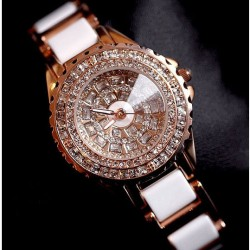 Women Luxury Diamond Gold Watch Noble White Ceramic Strap Rhinestone Watch