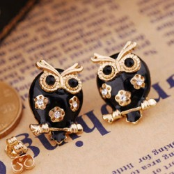Lovely Black Owl Hollow Flower Earrings Studs/Jewelry