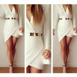 Sexy Hem Long Sleeve White Dresses