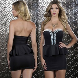 Sexy Rhinestone Flounced Party Dress Evening Dress